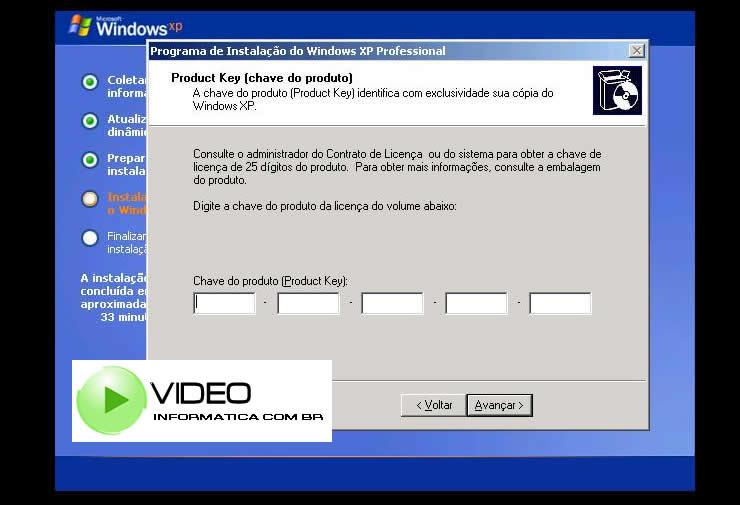 Tela Forneça o Product Key (chave do produto) número seral do windows