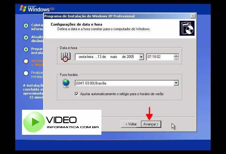 Tela de Configurações de Data e Hora