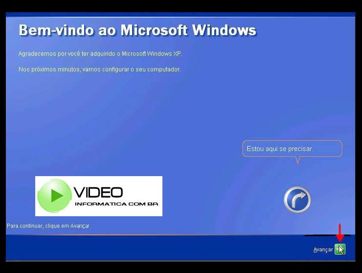 Tela de Boas Vindas do Windows XP após instalado