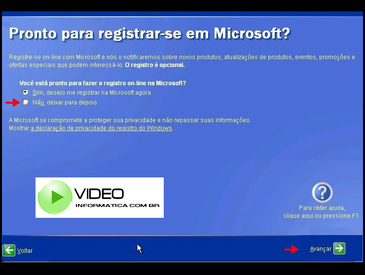 Tela do Registro on-line da Microsoft