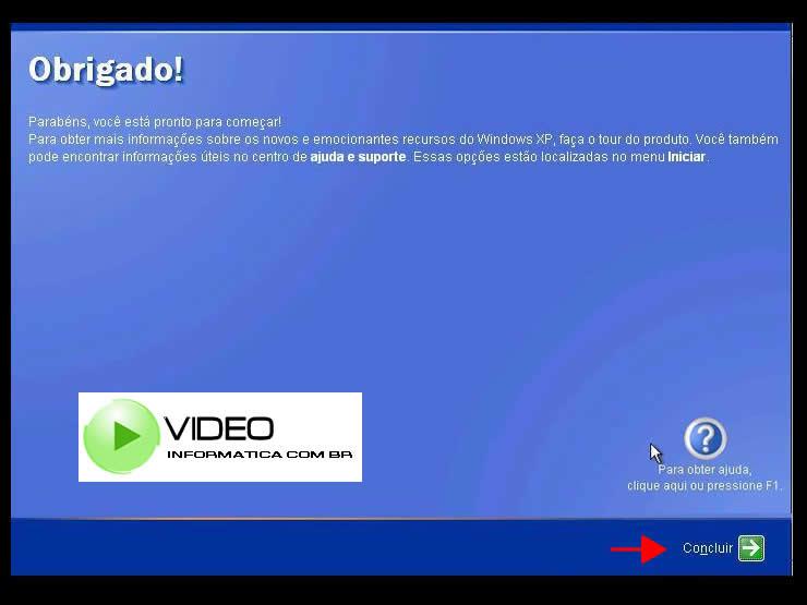Tela de informações do centro de ajuda e suporte do windows xp