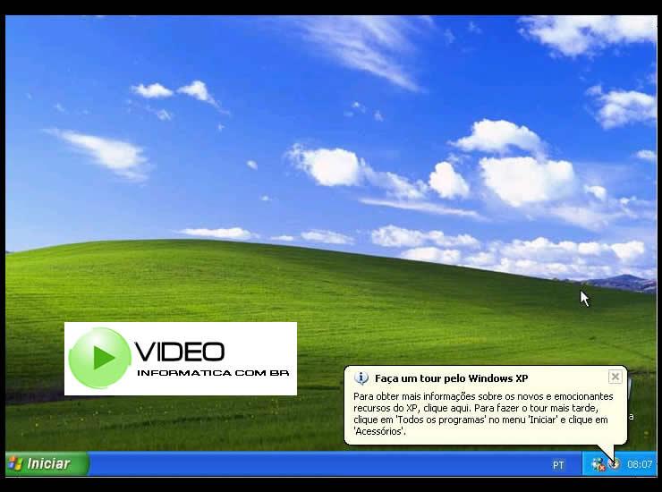 Tela Inicial da área de trabalho do Windows XP